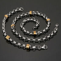 Mens Women Gold Silver Stainless Steel Necklace Bracelet Bangle Wristband Chain