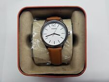 FOSSIL WHITE DIAL ST.STEEL CASE BROWN LEATHER STRAP MEN'S WATCH BQ3074 NEW