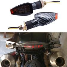 Carbon 2x 12V LED Turn Signals Amber Indicator Light For Monster CBR GSX-R Ninja