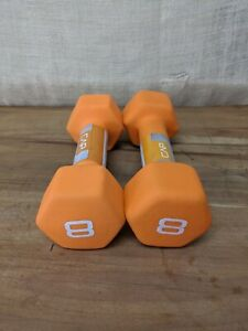CAP Hex Orange Neoprene 8lb Pound Pair Dumbbell Hand Weights 16lbs Total