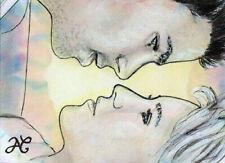 Original Drawing Sketch Card Portrait Soul Mate LOVE Couple ART Miniature Dessin
