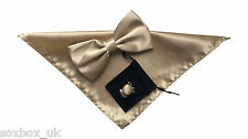 Mens Bow Tie Handkerchief and cuff links set Plain beige No.48