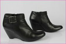 Boots Booties Wedge Heels GRIGIARANCIO Italy Black Leather T 40
