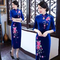 Charming Qipao Chinese women's Long dress velvet evening dress Cheongsam Qipao *