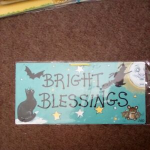 """Smiley Signs/plaque """"Bright Blessings """" Witch and Cat"""