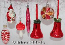 Konvolut -7Stück Christbaumschmuck aus Glas WEIHNACHTSROT Glimmer Baumbehang #45