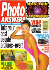 Photo Answers magazine with Canon EOS 500 film  camera tested   November  1993