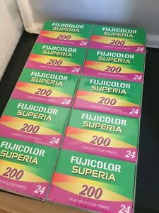 10 Rolls Fuji 200 Superia Color film 35mm 24 Exp Expired