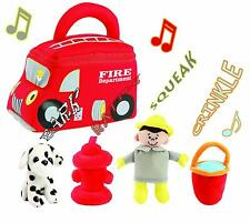 Fire Truck Plush Rescue Vehicle Carrier with Sound Figure Soft Baby Toy Play Set