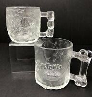 1993 McDonalds Flintstones Glass Mug Cup Lot of 2 Rocky Road & Pre Dawn
