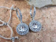 New Cear White Crystal Elements Dangle Earrings Silver Lever-back #771