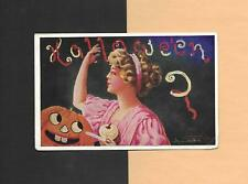 LADY'S SUPERSTITION, Smiling JOL On A/S WALL Vintage Unused HALLOWEEN Postcard
