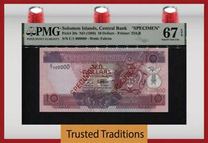 TT PK 20s 1996 SOLOMON ISLANDS 10 DOLLARS SPECIMEN PMG 67 EPQ SUPERB GEM UNC!