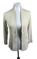 Jeanne Pierre Women's Size M Cable Knit Open Front Cardigan Sweater Ivory