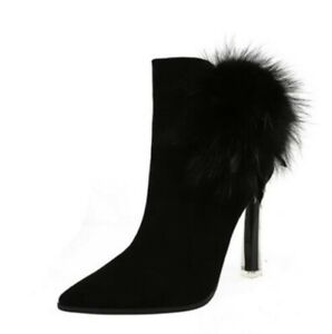 Women Ankle Boot High Heel Faux Fur Lined Suede Pointed Toe Zip Stiletto Shoes L