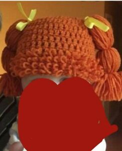 Girls Ponytail Hat Red Brown Yarn Hair  With Bows Adorable