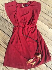 ENFOCUS STUDIO Dress Indian Feather Belt Cowgirl Party Casual Womens Sz 14  ~