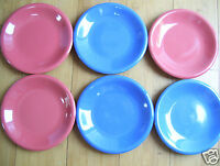 """Lot Set of 6 Crate & Barrel Colorful Desert Party 7 3/4"""" Plates GORGEOUS & RARE"""