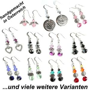 Ohrringe mit Swarovski® Kristallen Silber-Ohrhaken in Etui - Farbe wählen!