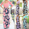 Fashionable Women Sleeveless O-Neck Floral Print Long Maxi Dress with Pockets US