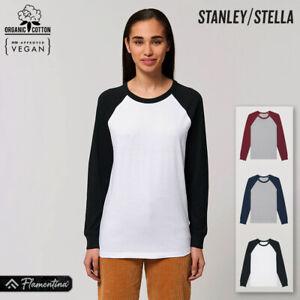 Unisex Organic Cotton Baseball T-Shirt Stanley Stella Long Sleeve Raglan Top Tee