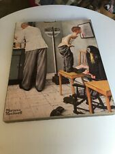 """Norman Rockwell """"At The Doctor's""""  Print ON WOOD BASE-BEFORE THE SHOT-RARE-EUC"""