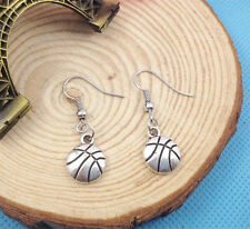 Cute New Tibetan Silver Basketball Charm Dangle Drop Earrings