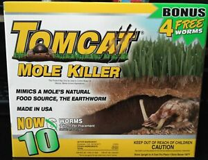 TomCat Mole Killer Bait Worms, 10 Pack ~ New Sealed