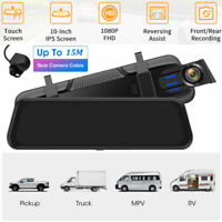 1080P Dual Lens Car Mirror DVR Dash Cam Rear View Backup Camera For Truck SUV RV