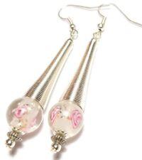 Long Pink Earrings Silver Spring Style Pierced Hooks Glass Beads