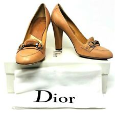 Christian Dior My Dior Nude Natural Leather Logo Loafer Heel Pump Shoes Size 9.5