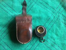 Solid Brass And Black Enamel Compass With Pouch. Aitchison, London. Oil-filled