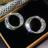 Gorgeous 925 Silver Hoop Earrings Stud Rhinestone Women Wedding Party Jewelry
