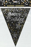 12ft Black Gold Silver Flag Banner Bunting Happy Birthday Party Decoration Adult