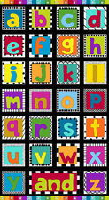 "Alphabet Letters A through Z Blocks Black Cotton Fabric Andover 24""X44"" Panel"