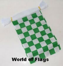 GREEN and WHITE CHECK BUNTING Checkered 9m 30 Fabric Flags Motor Racing Sport