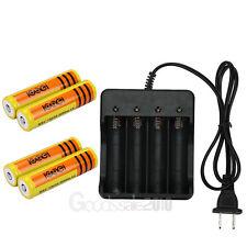 4 x18650 5000mAh 3.7V Li-ion Rechargeable Battery+4 slot US Plug AC Charger new