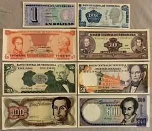 VENEZUELA -  LOT SET 1,2,5,10,20,50,100,500 BOLIVARES - 1989 - 1998 - GEM UNC