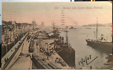 MONTREAL, Quebec, CANADA, Hand Colored Post Card WATERFRONT, SHIPS RAILROAD 1907
