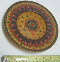 Vintage Carved Wooden Decorative Plate Romania Dancers Painted Color