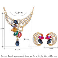 Women Crystal Rhinestone Necklace Pendant Earring Wedding Jewelry Set Gold