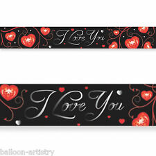 4.65m Black Valentine's Day I Love You Red Hearts Banner Party Decoration