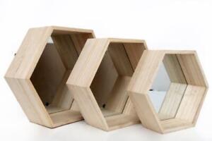 Set 3 Hexagon Shaped Natural Wood Mirrored Glass Display Shelf Shelves Wall Unit