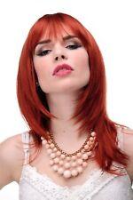 Perruque pour Femme Rouge Foncé Cuivre Lisse Longue Jusqu'aux Épaules Frange
