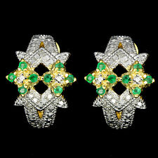 Natural Green Emerald 2pcs Peach Diamond 2 Tone 925 Sterling Silver Earrings