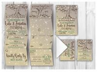 Personalised HANDMADE Tree Wedding Day Invites / Evening Invitation +Envelope