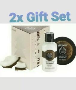 2x The Body Shop Coconut 2 piece Bath & Body Gift Set In Christmas Tree Box NEW