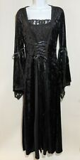 Lip Service Long Black Velvet + Lace Goth Cosplay LARP Dress Size Medium