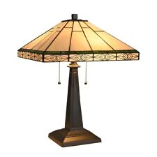 """Mission Style Stained Glass Table Lamp Tiffany Style Shade 16""""W"""
