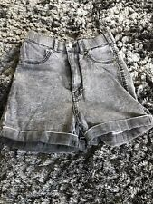 Ladies/womens/girls High Waisted Washed Black Denim Hotpants/shorts Size S/small